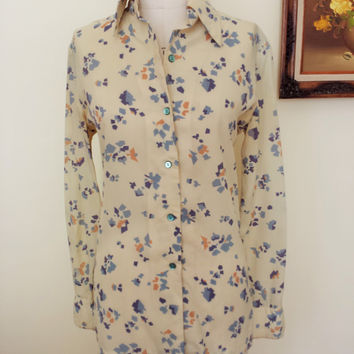 Vintage 70s Print Button Down Blouse by Alex Colman
