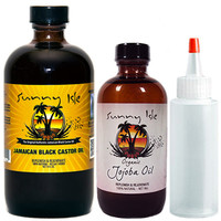 Sunny Isle Jamaican Black Castor Oil 8oz and Joboba Oil Combo