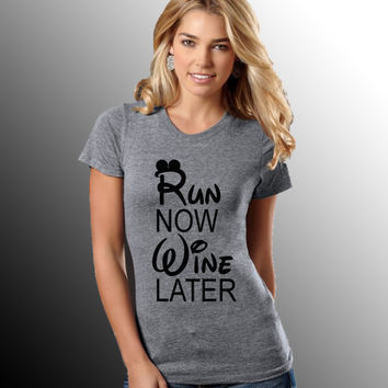 Disney Run Now Wine Later Women's Premium Tri-Blend Shirt - Triblend - Fitness Shirt - Running Shirt - Workout Shirt - Gym