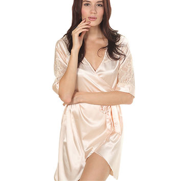 Women Solid Color Night Robe Dress Nightgown Imitated Silk Free size Sleepwear
