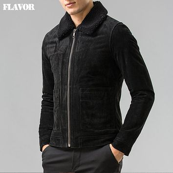 Men's Genuine Leather jacket real leather jackets with Faux collar padding cotton