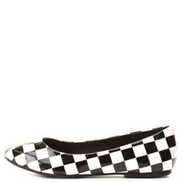 Dollhouse Checkered Ballet Flats by Charlotte Russe - Black/White