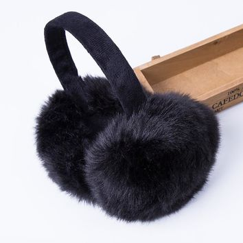 Fashion Rabbit Fur Women Earmuffs For Brand Winter Earmuffs Comfortable Warm Ear Cover Ear Warmers For Girls Adjustable