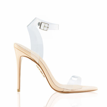 Shoes: 'GHOST' Clear Straps Nude Sandals