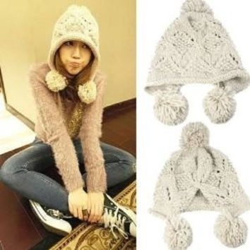 Women's Ladies Korea Knit Crochet flora Beanie Pom Pom Hat Cap Ear Flap Earmuff warm winter hats Cap (Color: Beige) = 1958007108