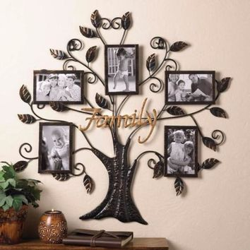 26 x 25 Inch Metal Family Tree 5 Photo Frame Hanging Home Wall Art Living Decor