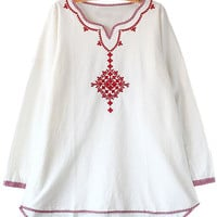 White with Red Embroidery Long Sleeve Shirt Dress
