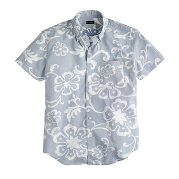 J.Crew Mens Secret Wash Short-Sleeve Shirt In Blue Jasmine Floral