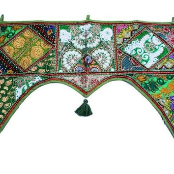 Indian handmade ethnic green color home decor toran patchwork tapestry embroidered mirror work door hanging valance #161
