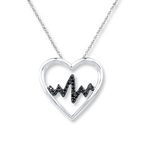Heartbeat Necklace 1/10 ct tw Black Diamonds Sterling Silver