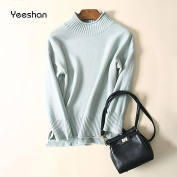 Yeeshan Turtleneck Sweaters Long Sleeves Beige Pink Grey Green Jumper Sweater Jersey Pullover Sweater Women 2017 Women's Sweater