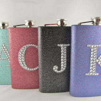 Super Glitter Flask with Rhinestone Initial IN by TaylorMadeFlasks