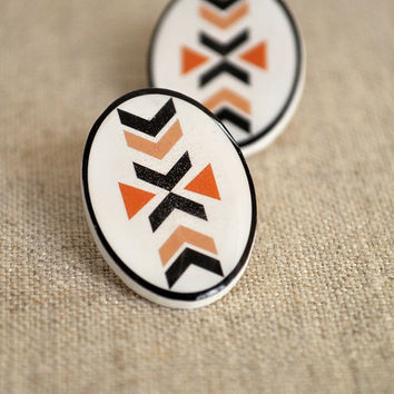 Sand Aztec Post Earrings by DittyDrops on Etsy