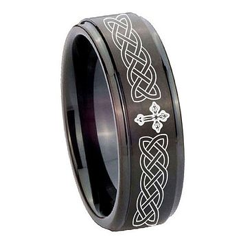 8mm Celtic Cross Step Edges Brush Black Tungsten Carbide Engraved Ring