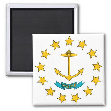Magnet with Flag of Rhode Island State - USA