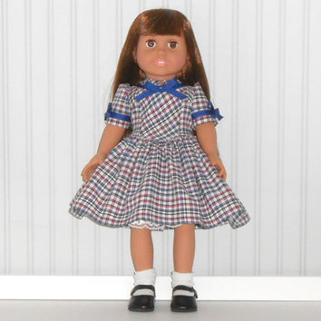 18 inch Doll Clothes Plaid 1940 Vintage Inspired Dress with White Slip fits American Girl Doll