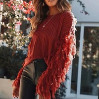 Pullover Sexy Tassels Long Sleeve Sweater [1447966638177]