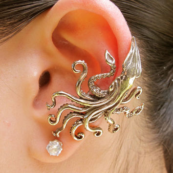 Kraken Squid Ear Cuff Bronze