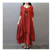 Vintage Women Double Layers Long Spring Fall Loose Maternity Tops Maxi Tunic Dress [8833470924]
