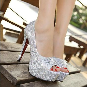 New Arrival Fashion Women Shoes Rhinestone Red Bottom High Heel Wedding Shoes Woman Crystal Banquet Bridal Shoes - Beauty Ticks