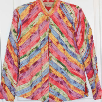 80s Jacket, New Direction, Bright Colored, Boho Jacket, Made India, Pieced Jacket, Boho, Artists Jacket, Fringe, Quilted Jacket, Spring