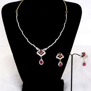 Unique AD Necklace and Earring set with Teardrop Pendant