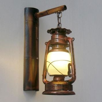 Retro Loft Vintage barn lantern Bamboo Wall lamps Milky Frost glass lampshade Metal Rustic Matty lights kerosene burner lighting