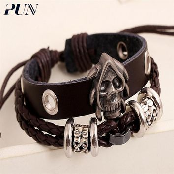 PUN friendship mens leather bracelets 2018 for men punk personalized charm bts bracelet charms male braclet hand chain braslet