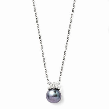 Sterling Silver CZ Freshwater Black Pearl Necklace
