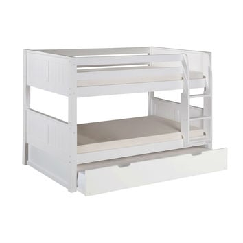 Modern Solid Wood Twin Over Twin Bunk Bed with Bottom Trundle in White