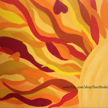 Sun Love, 5x7 photo Note Card, from original abstract acrylic energy paintings, FREE shipping, happy art