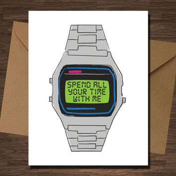 Sweet Anniversary Card Boyfriend Girlfriend Engagement Old School Watch Love Valentine Card