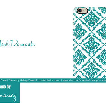 iPhone 6 Case | Deep Teal Damask Cell Case | cell case by thatsnancy |