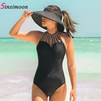 Women Beading Swimsuit Black One Piece Swimwear New High Cut Bathing Suit Beachwear Halter Bandage Hollow Out Swimming Suit