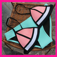 *FREE SHIPPING* Triangle Neoprene Bikini Set with Push Up Top