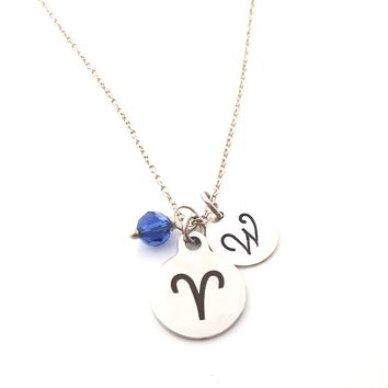 Aries - Zodiac Charm - Personalized Sterling Silver Necklace