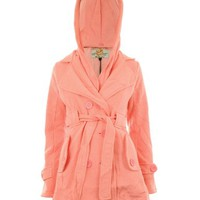Gracious Girl Women's Sabyna Fleece Lined Hooded Trench Coat