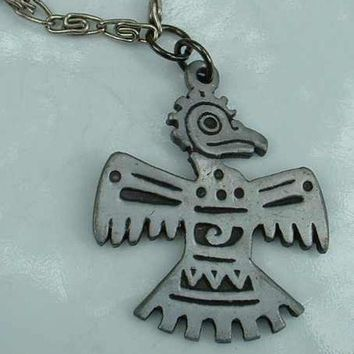 Pewter Aztec Indian Thunderbird Pendant Necklace Vintage Jewelry