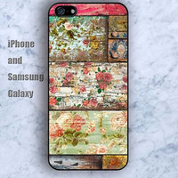 wood case wooden flowers iPhone 5/5S ipod touch silicone rubber case phone cover