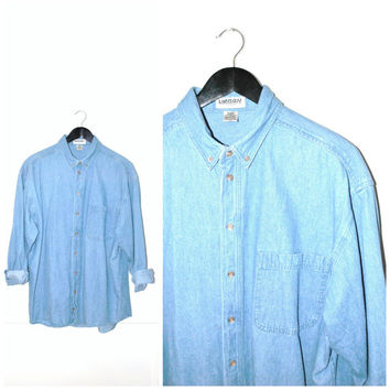 RELAXED fit CHAMBRAY shirt / button down 90s GRUNGE minimalist light wash unisex denim blouse