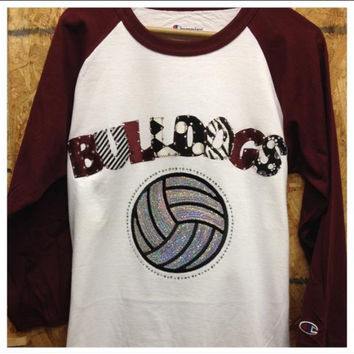 Bling 3/4 Sleeve Volleyball Custom Mascot Shirt by ThreadsToo