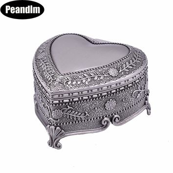 PEANDIM Pewter Plated Jewelry Box Vintage Home Decoration Trinket Box Carrying Cases Metal Art Craft Casket Wedding Gift Box