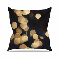 "Cristina Mitchell ""Blurred Lights"" Black Gold Throw Pillow"