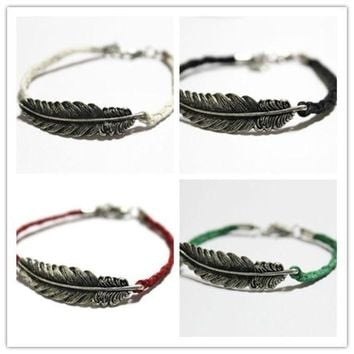 ONETOW Feather bracelet, leaves bracelet, handmade bracelet, Antique Silver Cute Charm friendship Bracelet Personalized Jewelry = 1930331716