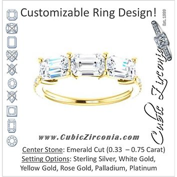 Cubic Zirconia Engagement Ring- The Mary Helen (Customizable Triple Emerald Cut Design with Ultra Thin Pavé Band)