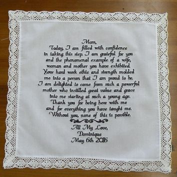 Wedding Gift Personalized Saying up to 80 Words Wedding Gift for Mom Wedding Handkerchief Gifts Embroidered Hanky By Canyon Embroidery Etsy