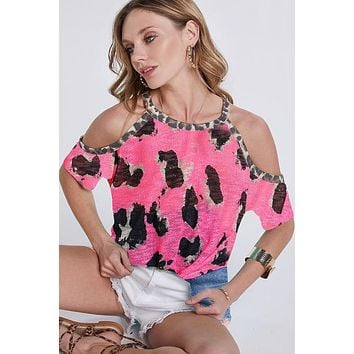 Cold Shoulder Leopard Print Top - Pink