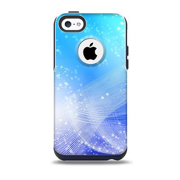 The Abstract Light Blue Scattered Snowflakes Skin for the iPhone 5c OtterBox Commuter Case