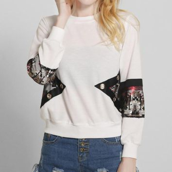 Fashion Sequin Multicolor Cotton Sweater