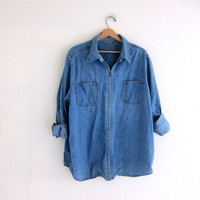 Vintage oversized Blue Denim Jean shirt with Zipper / washed out light shirt jacket